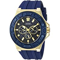 [Patrocinado] Guess de los hombres U0674G2Sporty Gold-tone multiuso reloj con dial de acero inoxidable y hebilla correa de color azul