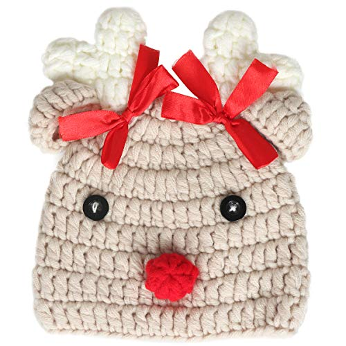Ypser Infant Baby Knitted Beanie Photo Prop Crochet Knit Cap Deer Hat with Bow Beige]()