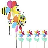 Mini-Factory Outdoor Wind Spinner Decoration Play Set - Honey Bee, Caterpillar,Pinwheel Wind Spinners for Flower Pot's, Garden, Yard, Camping