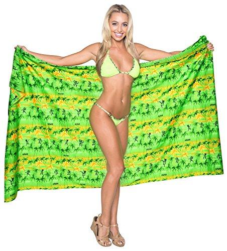 La Leela suave likre palmera de playa del traje de baño pareo hawaiano envolver 72x42 pulgadas Naranja Fuerte Y Picante