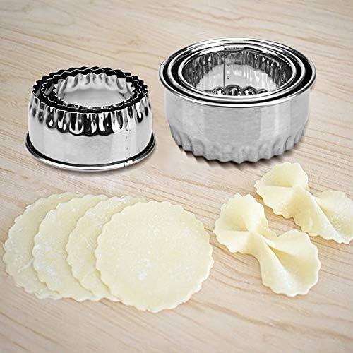 5 Stück Edelstahl Klöppel Maker, 3 Klößel Skin Maker 2 Klößchen Formen Chinesische Klößchenschneider Kuchen Ravioli Empanadas Klößer Presse Wrapper Form Küche Zubehör
