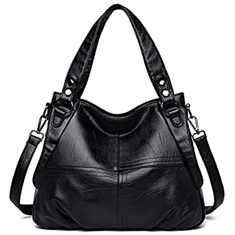Hobo Tote Bags for Women Large Leather Shoulder Bag with Zipper Closure for Travel Black