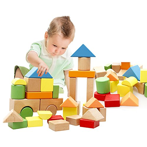 Lewo Large Wooden Blocks Construction Building Toys Set Stacking Bricks Board Games 32 Pieces (Bricks Prism)
