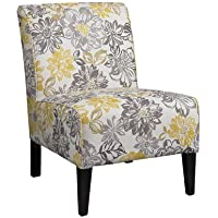Contemporary Style Gray and Yellow Floral Side Chair, It Has Sturdy Hardwood Frame Construction, Great Addition to Your Living Room or Bedroom Space