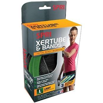 SPRI Xertube Resistance Bands Kit with Door Attachment (1 Green Xertube, 3 Xercise Bands)