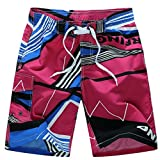 Cheap Oksale® Men's Printing Quick Dry Swim Shorts Beach Swim Trunks Sweatpants With Three Pockets (Hot Pink, M)