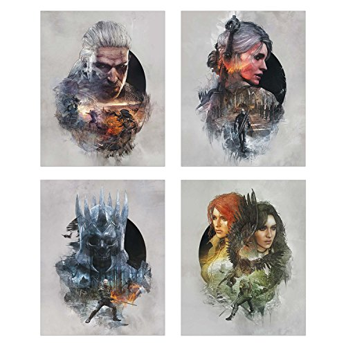Book Red Poster (Witcher 3: Wild Hunt - Set of 4 8x10 Poster Prints - Epic Wall Art Photos - Geralt of Riveria, Ciri, Yennefer of Vengerberg, Triss Merigold, Eredin)