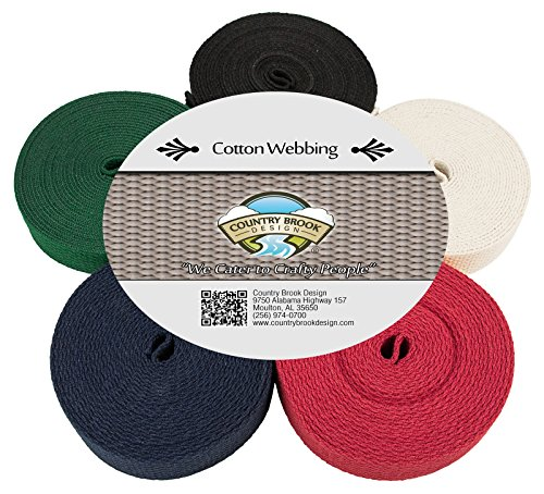 Country Brook Design | 1 Inch Heavy Cotton Webbing, 5 Yards of 5 Colors ()