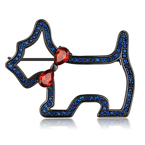 Kemstone Gun Plated Ruby Sapphire Crystal Dog Animal Brooch Pin Jewelry - Diamond Ruby Sapphire Brooch
