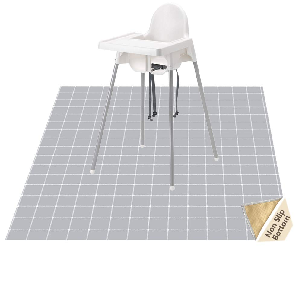 Highchair Floor Mat, Baby Splat Mat for Under High Chair/Arts/Crafts, Womumon Waterproof Spill Mat Non-Slip Splash Mat, Washable Mess Mat and Table Cloth (Square)