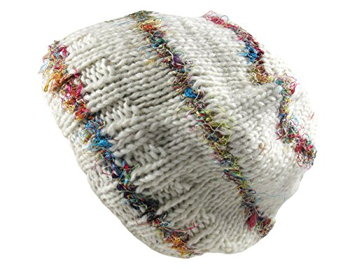 Nepal Hand Knit Wool Beanie with Recycled Silk