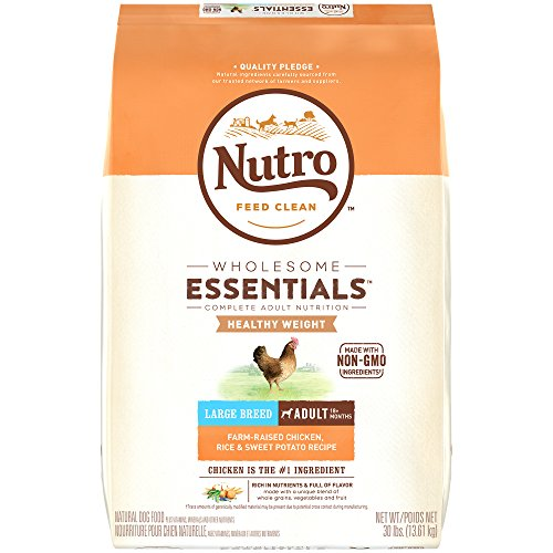 NUTRO WHOLESOME ESSENTIALS Natural Healthy Weight Adult Large Breed Dry Dog Food Farm-Raised Chicken, Rice & Sweet Potato Recipe, 30 lb. Bag (Best Healthy Weight Dog Food)