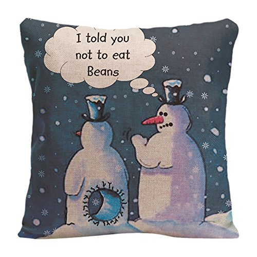 LDJ Cotton Polyester Sofa Chair Seat Square Throw Pillow Case Decorative Cushion Cover Pillowcase Design With Funny Snowmen Cartoon Custom Pillow Cover Print Double Sides Sized 20x20 Inches