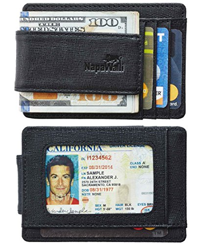 Toughergun Genuine Leather Magnetic Front Pocket Money Clip Wallet RFID Blocking(Crosshatch Black) (Money Clip Id Wallet)