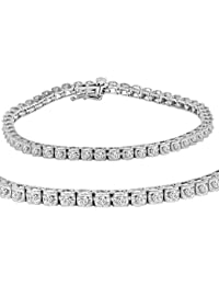AGS Certified 1 ct tw Diamond Tennis Bracelet in 14K White Gold 7 inch