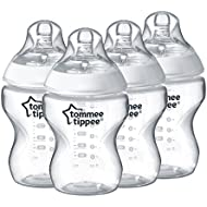 Tommee Tippee Closer to Nature  Baby Bottle, Anti-Colic Valve, Breast-like Nipple for Natural Latch, BPA-Free  - Slow Flow, 9 Ounce, 4 Count