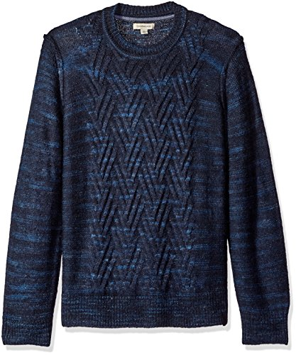 Calvin Klein Jeans Men's Space Dyed Cable Crew Neck Sweater, Classic Navy, Medium Classic Cable Crewneck Sweater