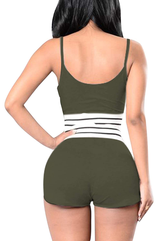 98c10d56a VamJump Women Sports Spaghetti Strap Crop Tank Top with High Waist Shorts  Set at Amazon Women s Clothing store
