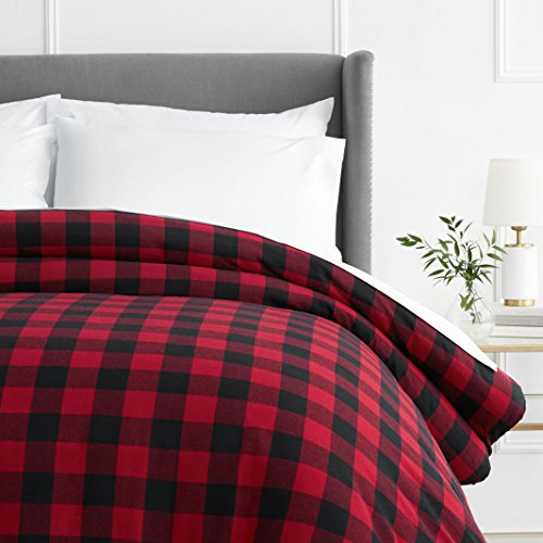 Cheapest Price! Pinzon 160 Gram Plaid Flannel Duvet Cover - Twin, Red Buffalo Check