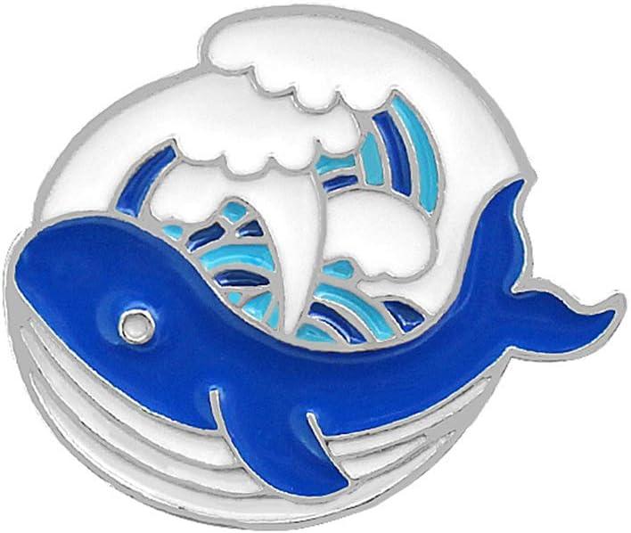 LEVEL GREAT Camisa Chaqueta de la Historieta de Dibujos Animados Ballena Ballenas del Océano Broche Diseño Goteo de Aceite de aleación de Zinc ...