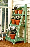 Wood Shelf Display Shabby Chic Cottage Ladder Shelving Unit (green)