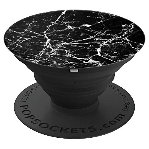 White & Black Marble Style with Cracked Design Phone Holder - PopSockets Grip and Stand for Phones and Tablets