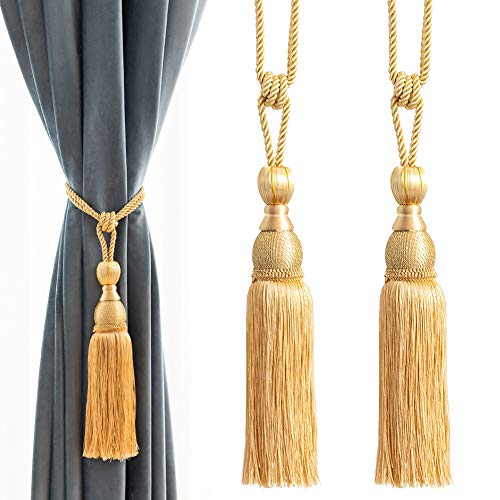 Melodieux Decorative Curtain Tiebacks Ball Tassels Holdbacks - Home Office Windows Drapery Fasteners Braided Buckle Fringe Ropes, Set of 2 (Gold) (Curtains Teal Silk)