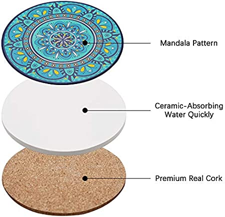 QUMENEY 8 posavasos de cerámica de mandala con base de corcho, posavasos de piedra absorbentes para tazas o vasos, gran decoración de comedor para el hogar, regalo de inauguración de la casa