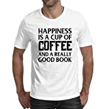Adult Short Sleeve Printing top Young Men Happiness is Coffee...