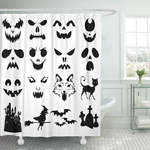 Ladble Waterproof Shower Curtain Curtains Face of Halloween Pumpkins Carved Silhouettes Stencil Cat Creepy Bats 72