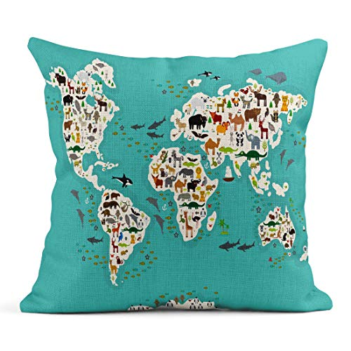 Emvency Decor Flax Throw Pillow Covers Case Blue Cartoon Animal World Map for Children and Kids from All Over The White 18