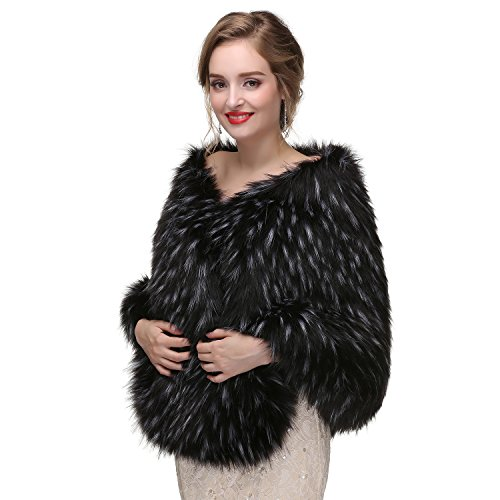 Shawl A Winter for Faux Womens Stoles Cape Wrap Wedding Bridal Fur BessWedding YPwqBvx