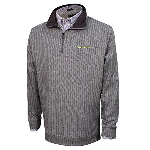Vesi NCAA Oregon Ducks Men's Herringbone Quarter Zip Pullover, Charcoal/Gray, Medium