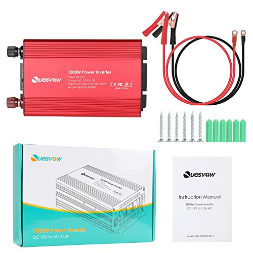 Quesvow 1000W Car Power Inverter DC 12V To 110V 3 AC Outlets Home Car RV Solar Power Converter For Household Appliances In Case Emergency Hurricane Storm And Outage