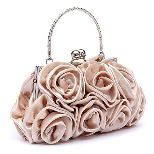 Evening Floral Women White Bag Ladies Apricot Bridal Party Clutch Baguette Prom Bag wfrtIMqfx4