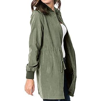 Women's Windbreaker Coat Jacket Long Zipper Lightweight Parka Outwear Ladies Turn-Down Collar Overcoat Cardigan Top