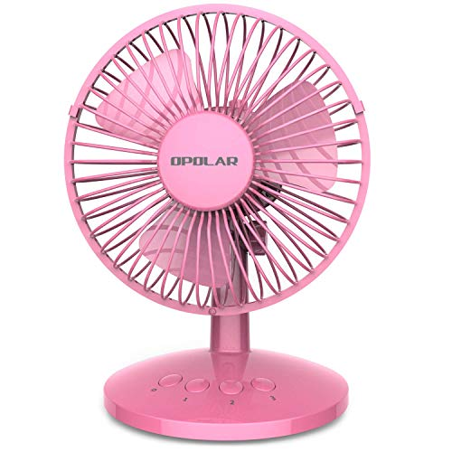 OPOLAR First Oscillating Mini Fan, AA Battery (not Included) Operated or USB Powered, Portable Table Fan, 3 Speeds, Adjustable Head, Enhanced Airflow and Low Noise, Personal Office Fan for -