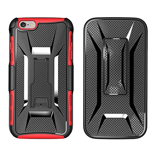 Apple iPhone 6 / 6S (4.7 inch) Alta Calidad Funda,Doble Capa Híbrida Armor TPU + PC Choque Absorción Caja del teléfono cinturón giratorio soporte Cover para iPhone 6s Negro Rojo