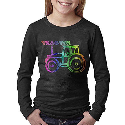Price comparison product image Rainbow Agricultural Tractor Teens Long Sleeve Cotton Crew Neck T-Shirt Tee