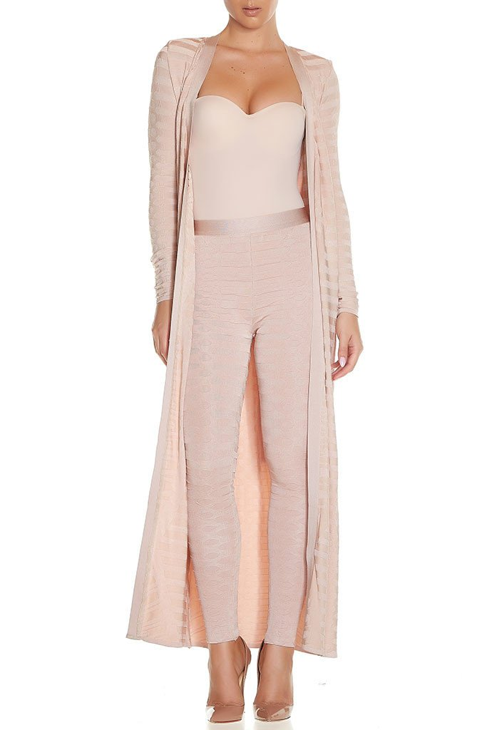 Whoinshop Women's Rayon Bandage Maxi 2 Pieces Sets Pants Leggings and Jackets Nude M