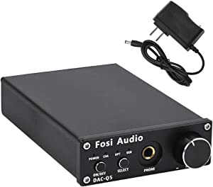 Fosi Audio DAC Converter 24-bit/192kHz Optical/Coaxial/USB Digital-to-Analog Adapter Decoder & Headphone Amplifier & Mini Stereo Pre-Amplifier Q5 (Black)