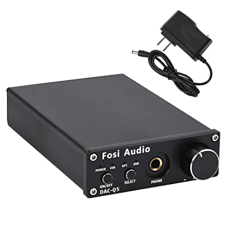 DAC Converter 24-bit/192kHz Optical/Coaxial/USB Digital-to-Analog Adapter  Decoder & Headphone Amplifier & Mini Stereo Pre-Amplifier - Fosi Audio Q5
