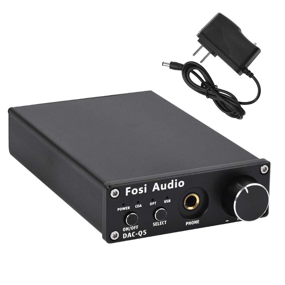 Fosi Audio DAC Converter 24-bit/192kHz Optical/Coaxial/USB Digital-to-Analog Adapter Decoder & Headphone Amplifier & Mini Stereo Pre-Amplifier Q5 (Black)