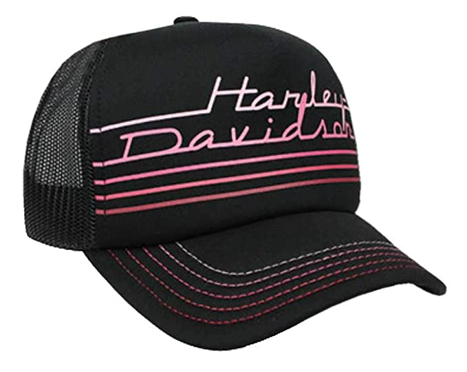 97355d27 Harley-Davidson Women's Throwback Mesh Snap Back Trucker Cap, Black ...