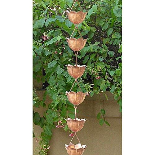 Monarchs Pure Copper Lotus Rain Chain 8-1/2 Feet Length by Monarch Int'l (Lotus Rain Chain)