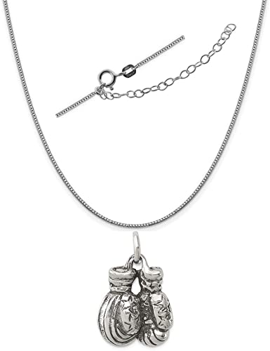 Sterling Silver Womens 1mm Box Chain 3D Set Of Boxing Gloves Pendant Necklace