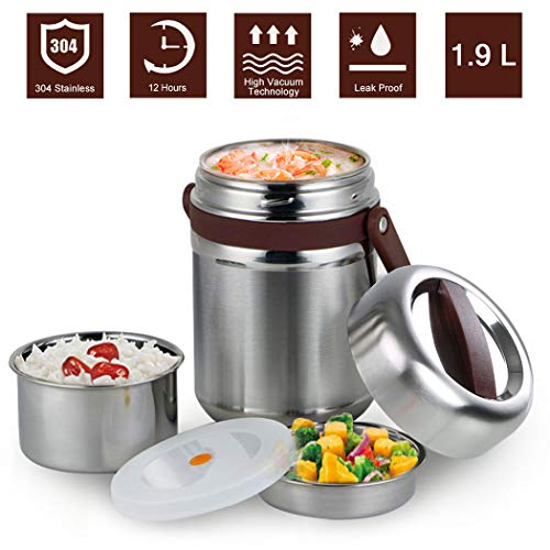 Vacuum Insulated Lunch Box 304 Stainless Steel Bento Box BPA Free Food Storage Containers 3 Layers Thermal Insulating Lunch Box Containers Food Jar Leakproof Food Carrier(1.9L, Coffee)