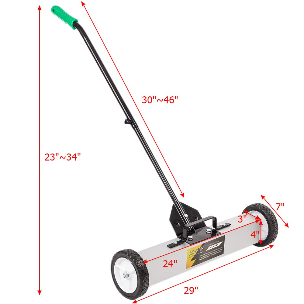 ROVSUN 24-Inch Rolling Magnetic Pick-Up Sweeper | 30-LBS Capacity, with Quick Release Latch & Adjustable Long Handle, for Nails Needles Screws Collection by ROVSUN (Image #7)