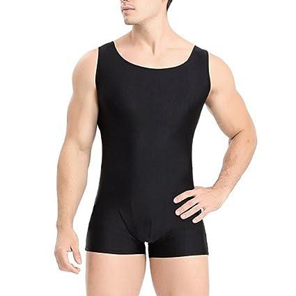5a3ff4da9ba9 Amazon.com   YiZYiF Men s Lycra Spandex Short Tank Bodysuit Workout ...