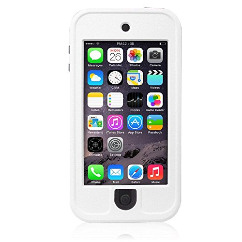 Waterproof Case for iPod 5 iPod 6, Merit Waterproof Shockproof Dirtproof Snowproof Case Cover with Kickstand for Apple iPod Touch 5th/6th Generation (White)